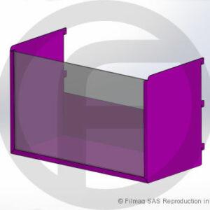 Bac tôle avec plexiglas – cross merchandising