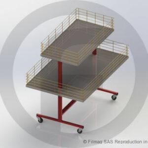 Table de fouille sur roulettes à 2 niveaux