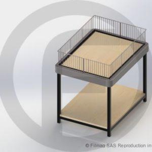 Table de fouille sans roulette plateau bas fixe retenue fil en partie haute