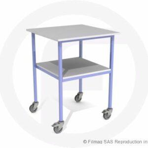 Table modulaire acier à 2 plateaux